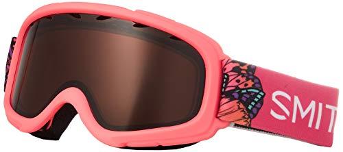 SMITH OPTICS(スミス) 眼鏡対応 ジュニア ダブルレンズ スノーゴーグル スキー スノーボード 子供用 3〜8才 GAMBLER CRAZY_PINK_BUTTERFLY F
