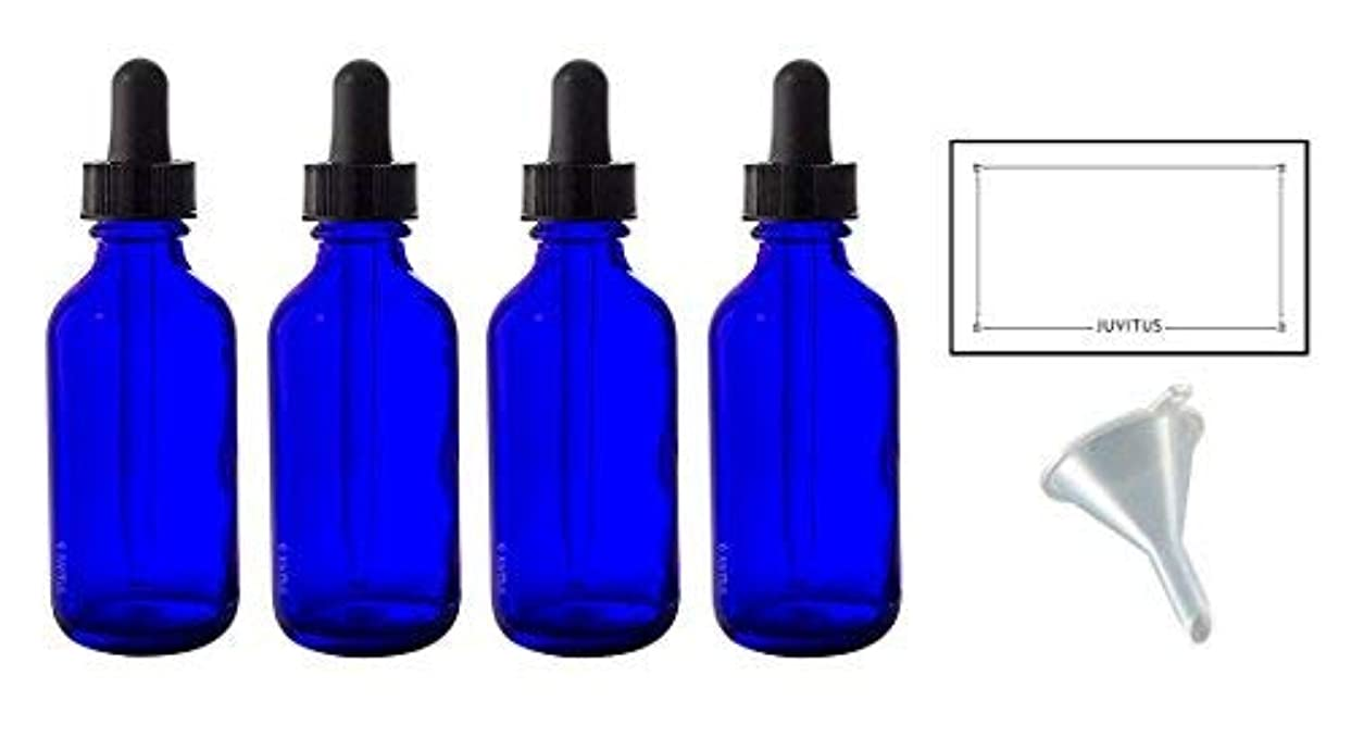 西部決済暴露2 oz Cobalt Blue Glass Boston Round Dropper Bottle (4 pack) + Funnel and Labels for essential oils, aromatherapy...