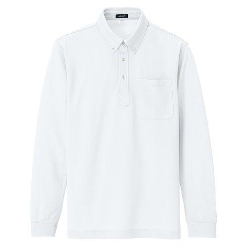 AITOZ【レディース】吸汗速乾長袖ボタンダウンポロシャツ[消臭機能]#AZ-10598ホワイト9号