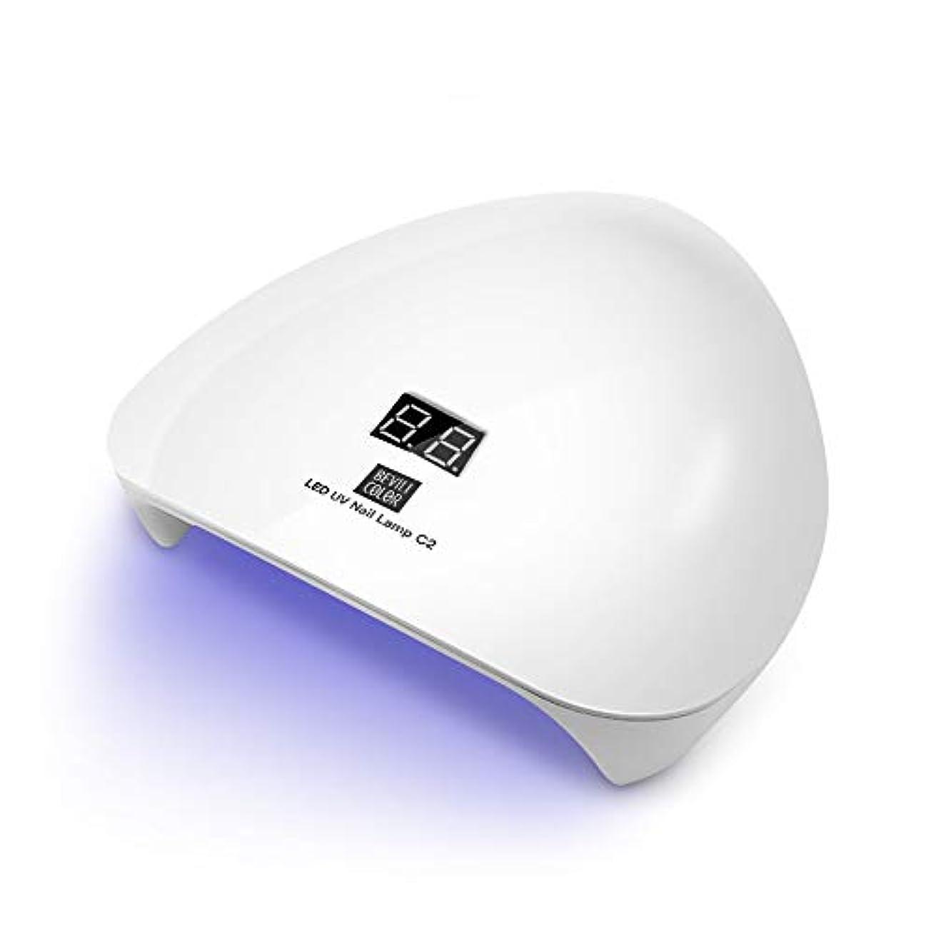 フロントありそう不透明なLEDネイルドライヤー UVライト 45W ハイパワー LED硬化ライト自動センサー 15LED 高速硬化 2019最新版 ジェルネイルライトUVとLEDダブルライト ジェルネイル用 (ホワイト)