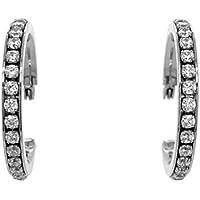 Bevilles Stainless Steel Crystal Hoop Earrings 30mm