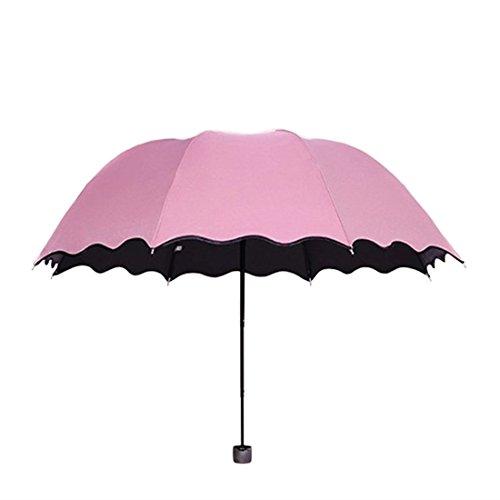 傘,Petforu 折畳傘 折り畳み傘 日傘 晴雨兼用傘 遮光 UV 傘 濡れると模様の色が変わる 自動開閉 撥水加工 カサ かさ レディース 紫外線 対策 遮熱 軽量 丈夫 遮光効果 可愛い おしゃれ 通勤 通学 8本骨 直径90cm - ピンク