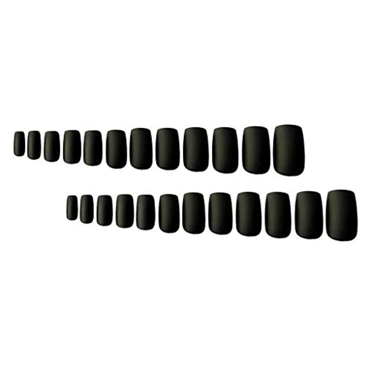 尊厳解決必要性24枚セット ネイルチップ 短い爪用 本物のチップようなネイルチップ ネイルジュエリー ブラック
