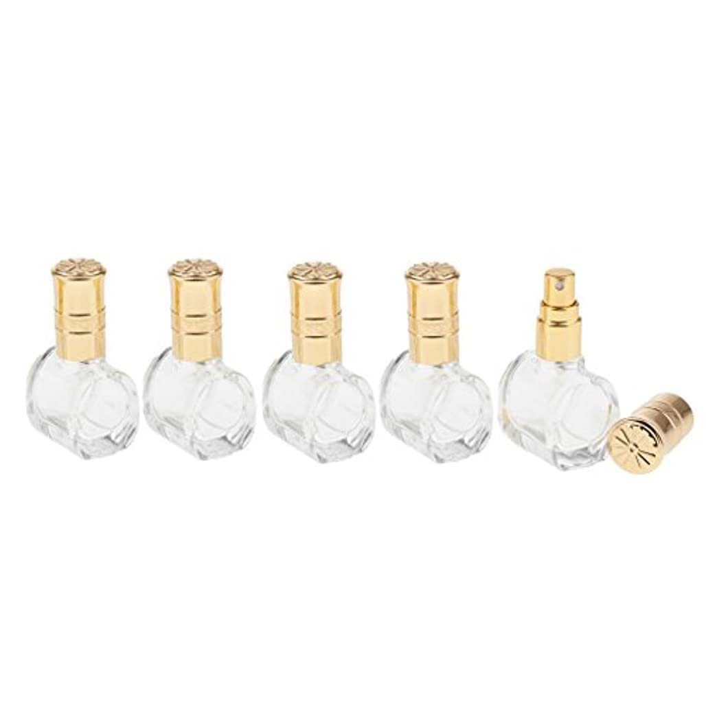 知覚的うねるインサートFenteer 5個 ガラス ボトル 空ボトル 詰替え オイル 香水 アトマイザー スプレーボトル