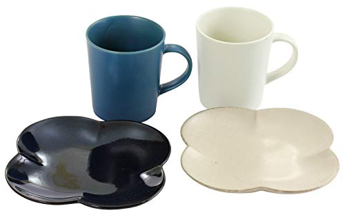 美濃焼 YUKURI White&Blue コーヒーとマフィン(プレート・マグカップ×2)