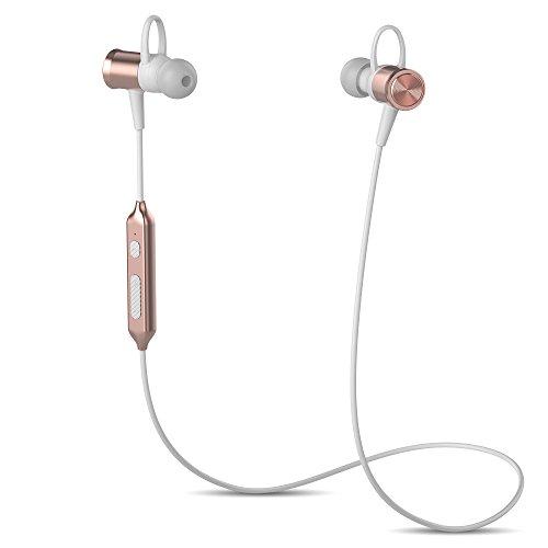 Yuwiss ワイヤレス イヤホン スポーツ Bluetooth 4.1 高音質 防汗 両耳 マグネット搭載 マイク付き ハンズフリー通話 ノイズキャンセリング 軽量 iPhone 7 Plus Samsung Android ランニング ジョギング サイクリング スポーツジム アウトドア (ローズゴールド)