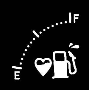 ガソリンメーターステッカー 給油口等 防水・車両OKカッティングステッカーKNM811-FW (白)