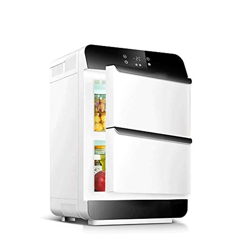 ヤギ考えたなにカー冷蔵庫 小型冷蔵庫25リットルのミニ冷蔵庫クーラーウォーマーダブルドア 家庭用&車用 カー トラック 大容量 (色 : Silver, Size : 34X34X54CM)