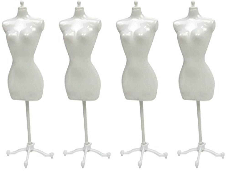 【Treiber】ドール トルソー 4個セット 22cm マネキン ディスプレイ 着せ替え 人形 洋服 ドレス 展示 飾る (ホワイト)
