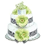 Small Lime Green Daisy Diaper Cake by Bloomers