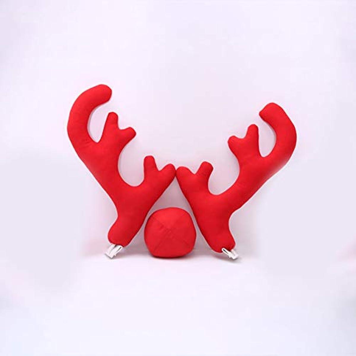 パイ懸念海外Saikogoods 2アントラーズ1枚のトナカイ鼻2 Mirrowカバーで新しいデザインクリエイティブクリスマスオートカーコスチュームの装飾フルセット 赤