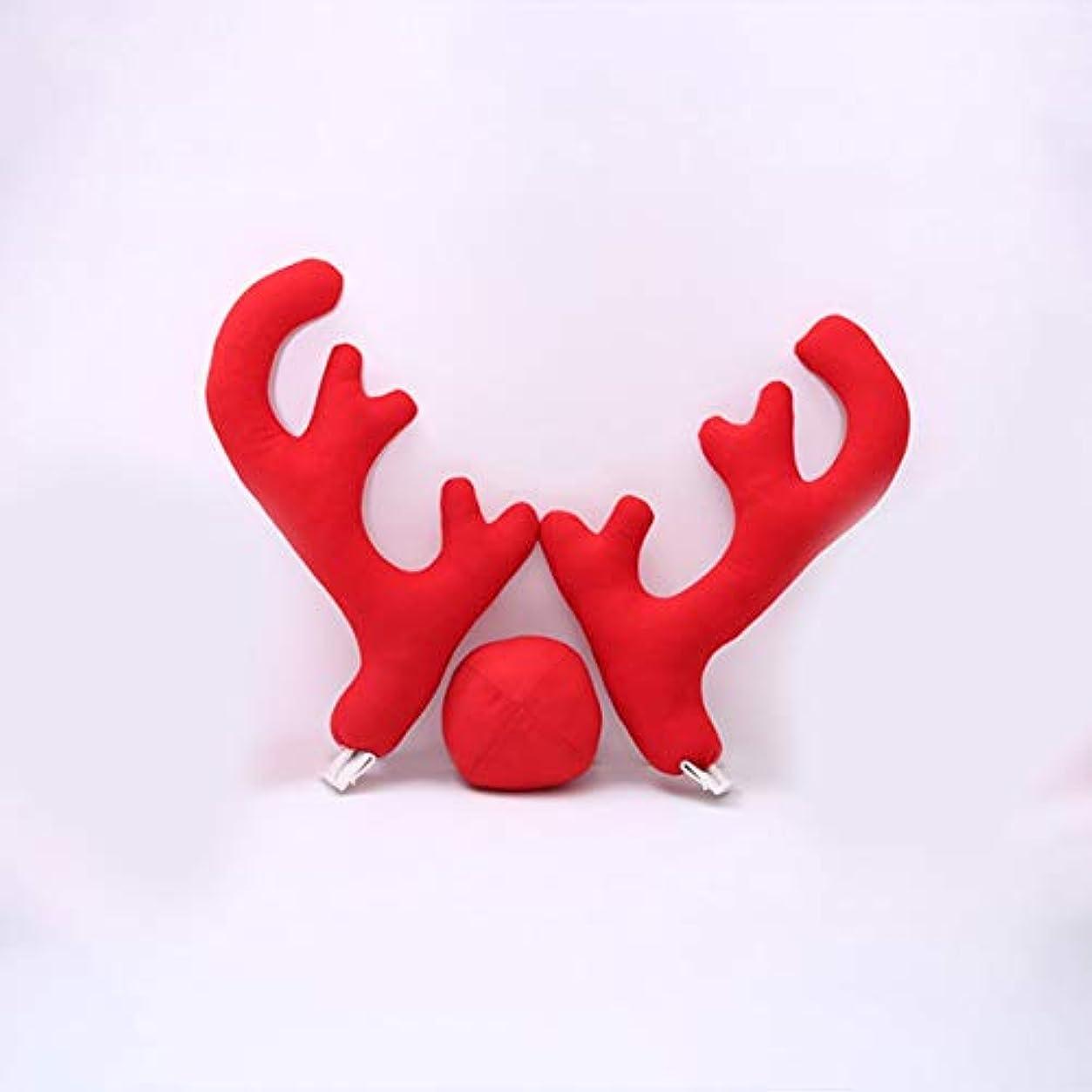 ゴシップマーチャンダイジング守るSaikogoods 2アントラーズ1枚のトナカイ鼻2 Mirrowカバーで新しいデザインクリエイティブクリスマスオートカーコスチュームの装飾フルセット 赤
