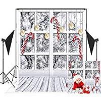 5x7ft(150x220cm)シームレスなクリスマス写真スタジオの背景の木の床白い窓雪枝ゴールドボール写真の背景