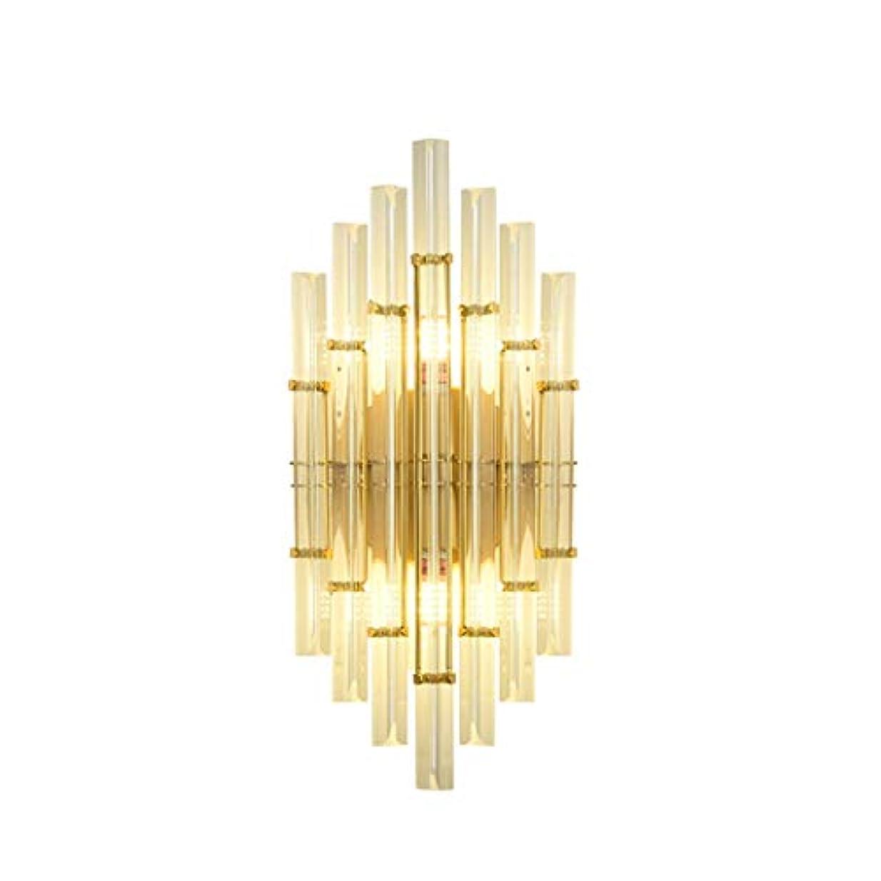 フォーカス弁護人メリーハードウェア吸引カップ通路通路のバルコニークリスタルガラスの装飾ランプ、E27、(22cm * 48cm)を備えた創造的なダイヤモンド形のゴールデンクリスタルウォールランプ