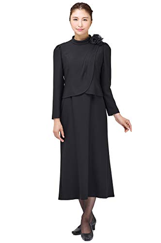 喪服・礼服用 ブラックフォーマル ワンピース 高級 正礼装 喪主 葬儀 葬式 告別式 お通夜 152720573 (9号)