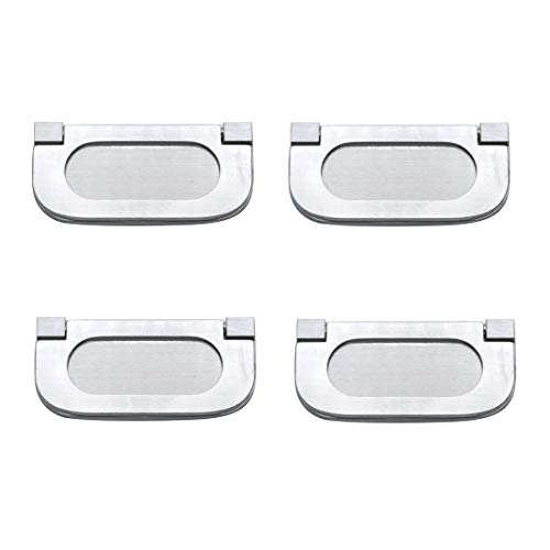 Autoly Modern Handle Flush Door Pull Recessed Finger Pulls for Pocket Doors, Sliding Doors, Cabinets, Drawers, Silver, 4-Pack,c31-64
