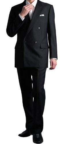 BLACK FORMAL 4ツ釦1ツ掛けフォーマルダブルスーツBB-L(6号)F5050-12-BB-L(ブラック メンズ ウエストアジャスター調整機能付き 結婚式 冠婚葬祭 礼服 喪服 Wスーツ)
