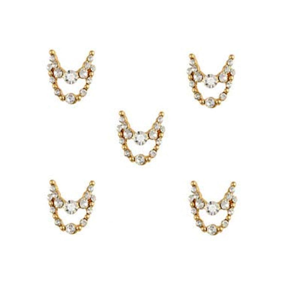 流産乗り出す大惨事明確なラインストーン3dチャーム合金ネイルアートの装飾が付いている10個入りゴールドネックレスブラブラ