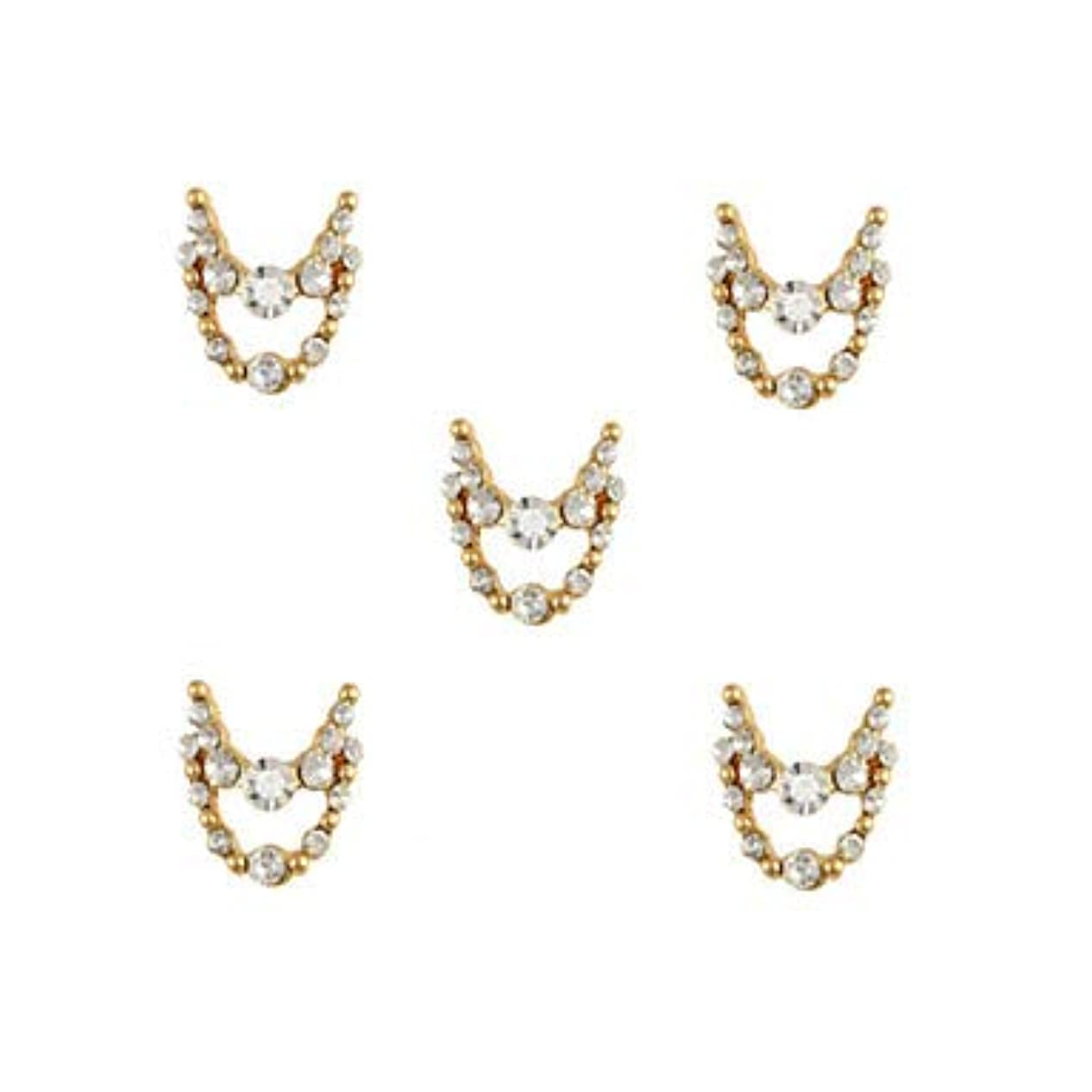 部分的に乳剤魔術師明確なラインストーン3dチャーム合金ネイルアートの装飾が付いている10個入りゴールドネックレスブラブラ