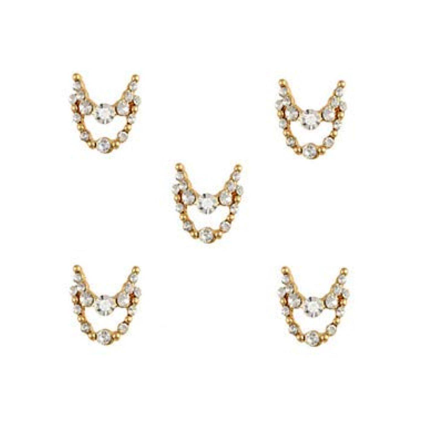 マラソン接触タヒチ明確なラインストーン3dチャーム合金ネイルアートの装飾が付いている10個入りゴールドネックレスブラブラ