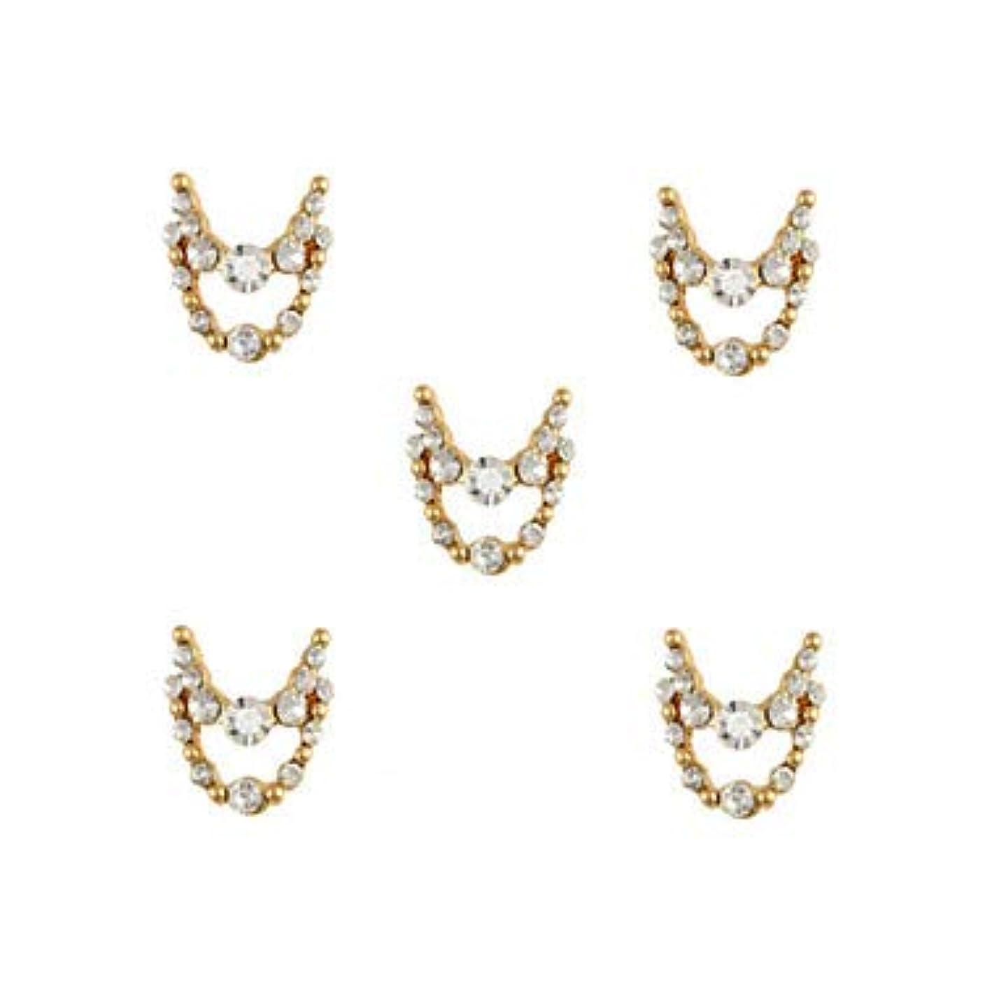腫瘍指導するベジタリアン明確なラインストーン3dチャーム合金ネイルアートの装飾が付いている10個入りゴールドネックレスブラブラ