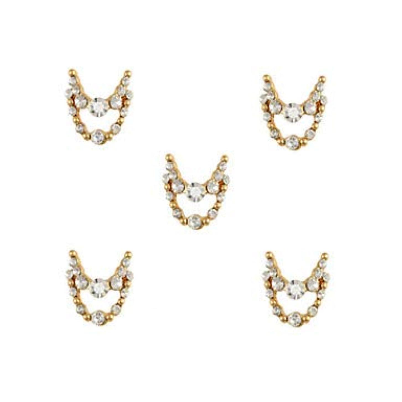 邪悪な雇用風が強い明確なラインストーン3dチャーム合金ネイルアートの装飾が付いている10個入りゴールドネックレスブラブラ