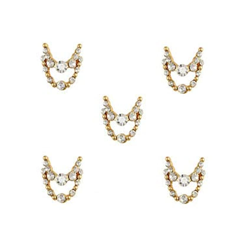 着陸導体スロット明確なラインストーン3dチャーム合金ネイルアートの装飾が付いている10個入りゴールドネックレスブラブラ