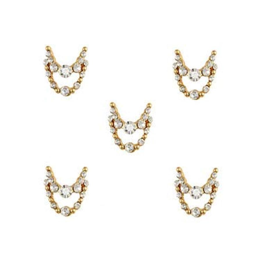 証拠周囲牛肉明確なラインストーン3dチャーム合金ネイルアートの装飾が付いている10個入りゴールドネックレスブラブラ