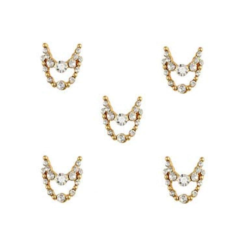れる高潔なパール明確なラインストーン3dチャーム合金ネイルアートの装飾が付いている10個入りゴールドネックレスブラブラ