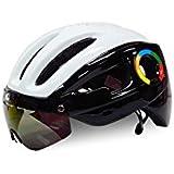 Osize 取り外し可能なゴーグル付きのアダルト自転車ヘルメットワンピース調節可能な乗馬ヘルメット(ブラック+ホワイト)