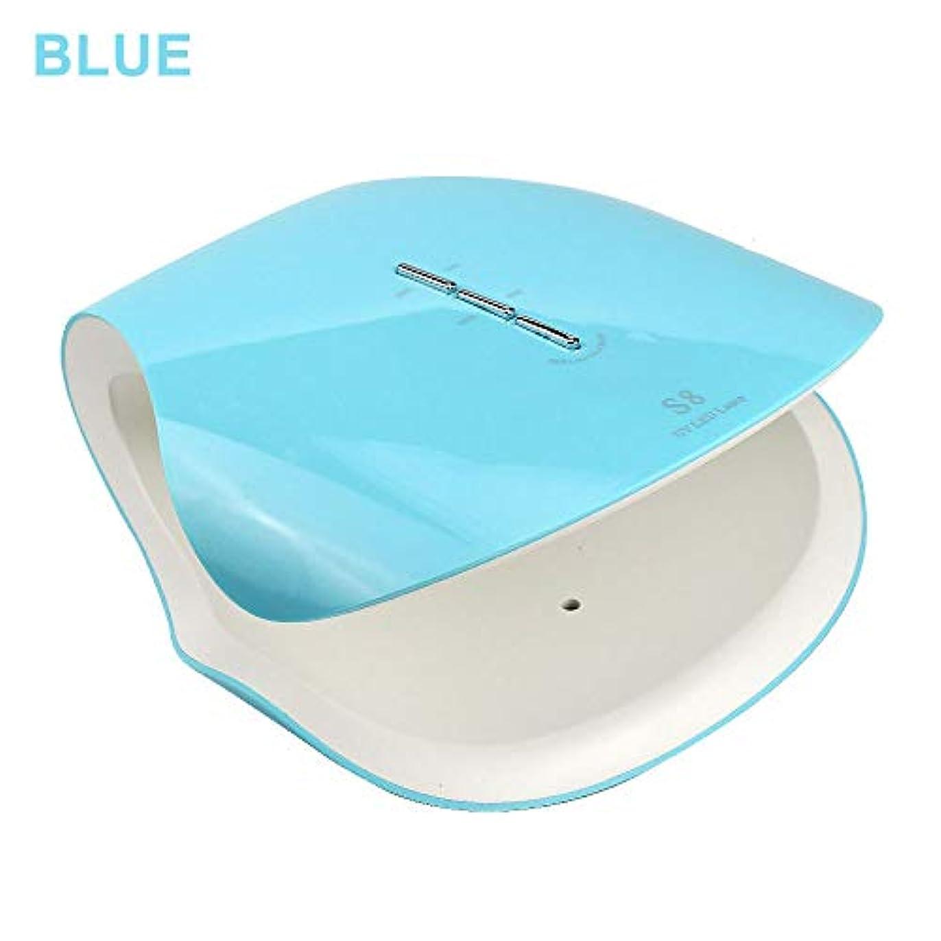 Led UVネイルドライヤー、48ワットスマートネイル光線療法機30 s 60 s 99 sタイマープロフェッショナル機マニキュア/ペディキュア,Blue