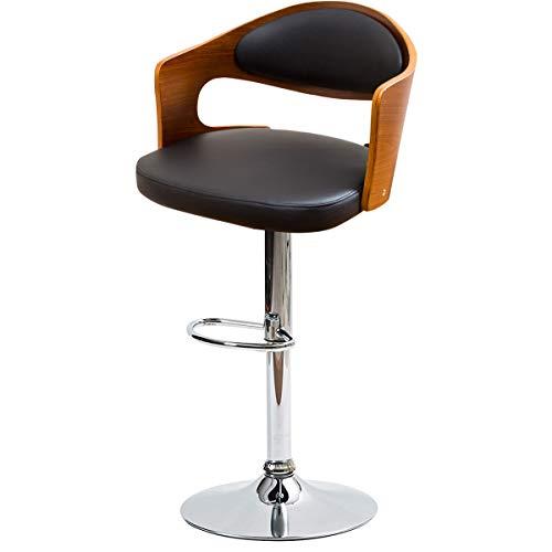 現代モダンデザイン 座面ワイドサイズのカウンターチェアー 見た目と機能性を兼ねたくつろぎバーチェア クッション座面 曲木プライウッド仕様 しっとりPUレザー ブラック色