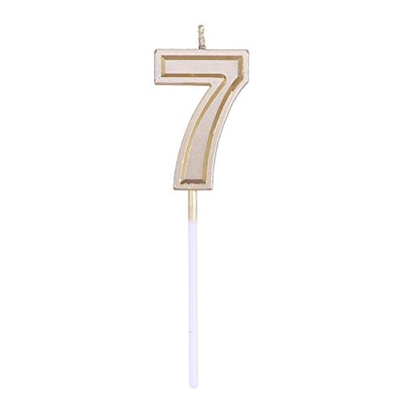 後ろにサイクロプスパントリーToyvian ゴールドラメ誕生日おめでとう数字キャンドル番号キャンドルケーキトッパー装飾用大人キッズパーティー(番号7)