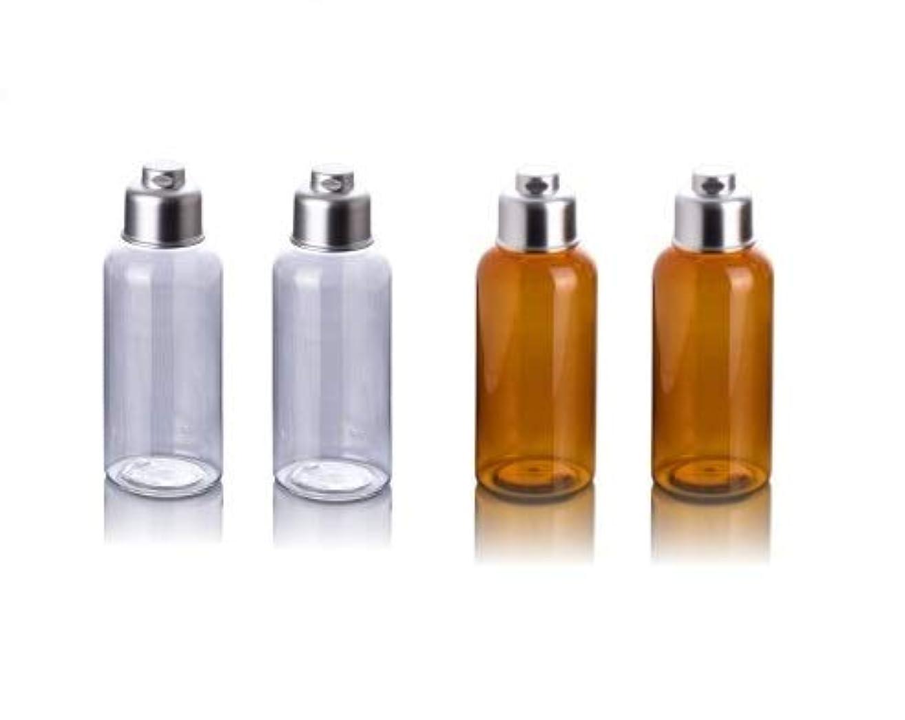 経由でタフ反応するBijou Cat 小分けボトル 旅行携帯用容器 100ml シャンプーボトル プラスチック製本体 透明?茶色 4本セット