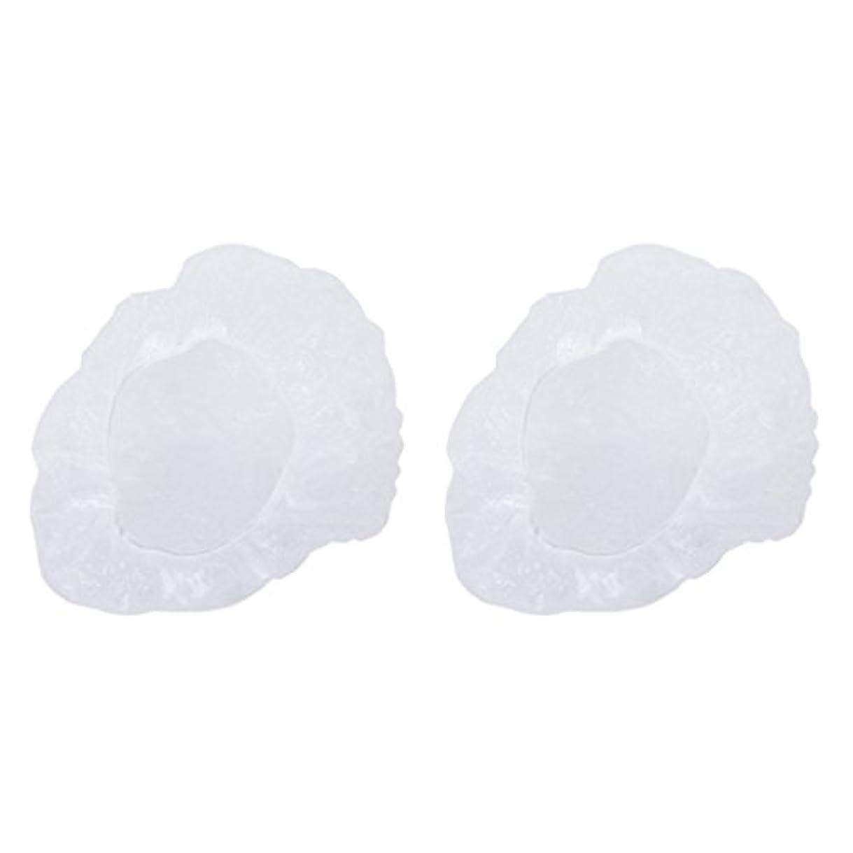 コンパニオン引き出す骨Perfk お買い得 ポリエチレン シャワーキャップ カバー 使い捨て プラスチック製  シャンプーハット 透明 200枚
