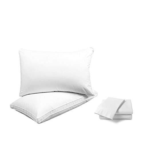 HUAGASION 枕 安眠 洗える ホテル仕様 高反発枕 + 枕カバー 高級棉100% 80サテン生地 43x63cm 枕とカバー2組セット【伝統工芸カップルセット】