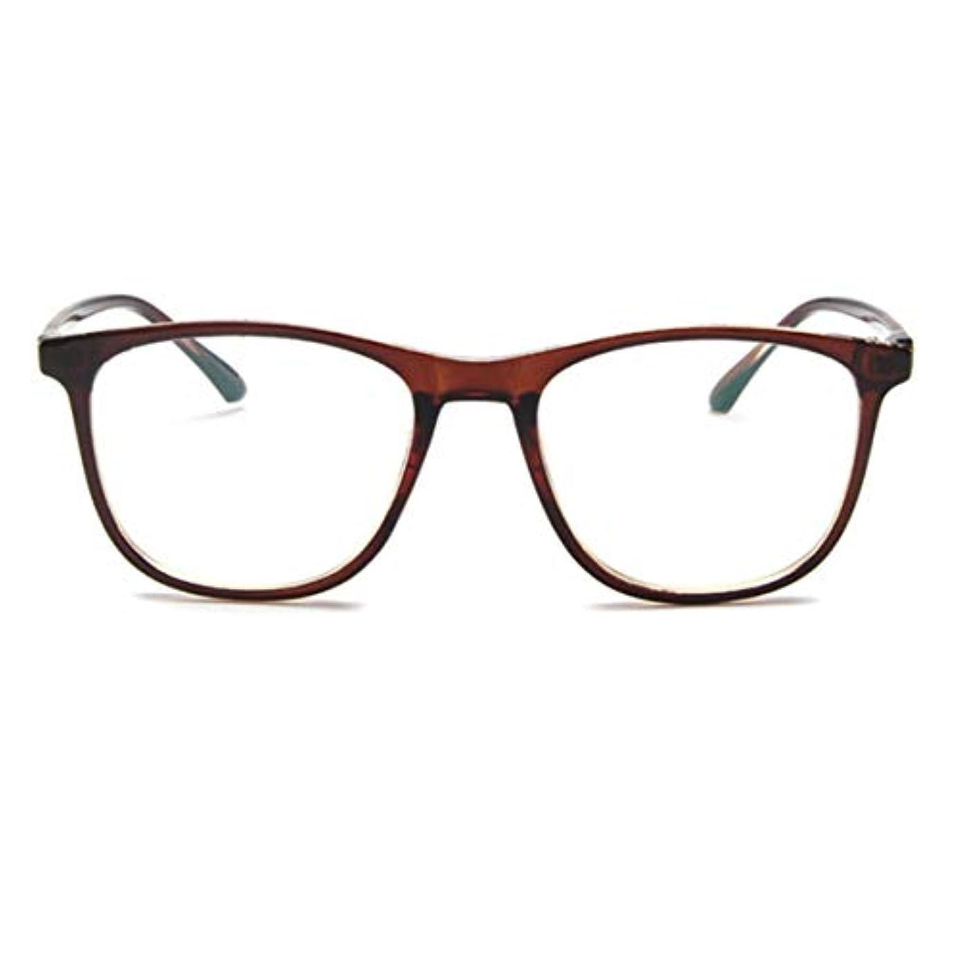 葉っぱ部種類韓国の学生のプレーンメガネ男性と女性のファッションメガネフレーム近視メガネフレームファッショナブルなシンプルなメガネ-ダークブラウン
