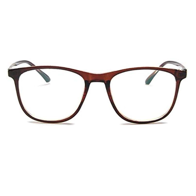 昨日人差し指ホーム韓国の学生のプレーンメガネ男性と女性のファッションメガネフレーム近視メガネフレームファッショナブルなシンプルなメガネ-ダークブラウン