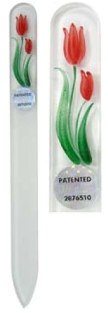 エゴマニア換気する電池Blazek(ブラジェク) ガラス製爪やすり ハンドペイントMサイズ 140mm チェコ製 チューリップ