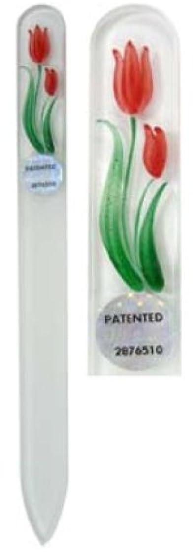 反映するチョーク小間Blazek(ブラジェク) ガラス製爪やすり ハンドペイントMサイズ 140mm チェコ製 チューリップ