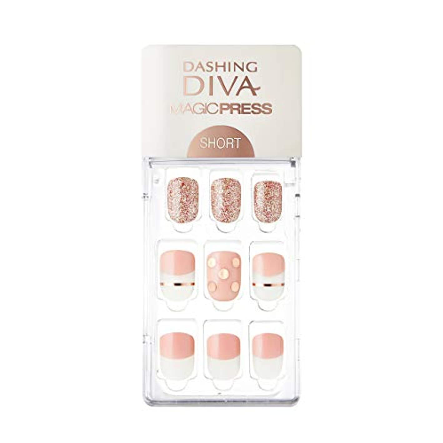 ロゴどのくらいの頻度で近くダッシングディバ マジックプレス DASHING DIVA MagicPress MDR228SS-DURY+ オリジナルジェル ネイルチップ Pink Polka