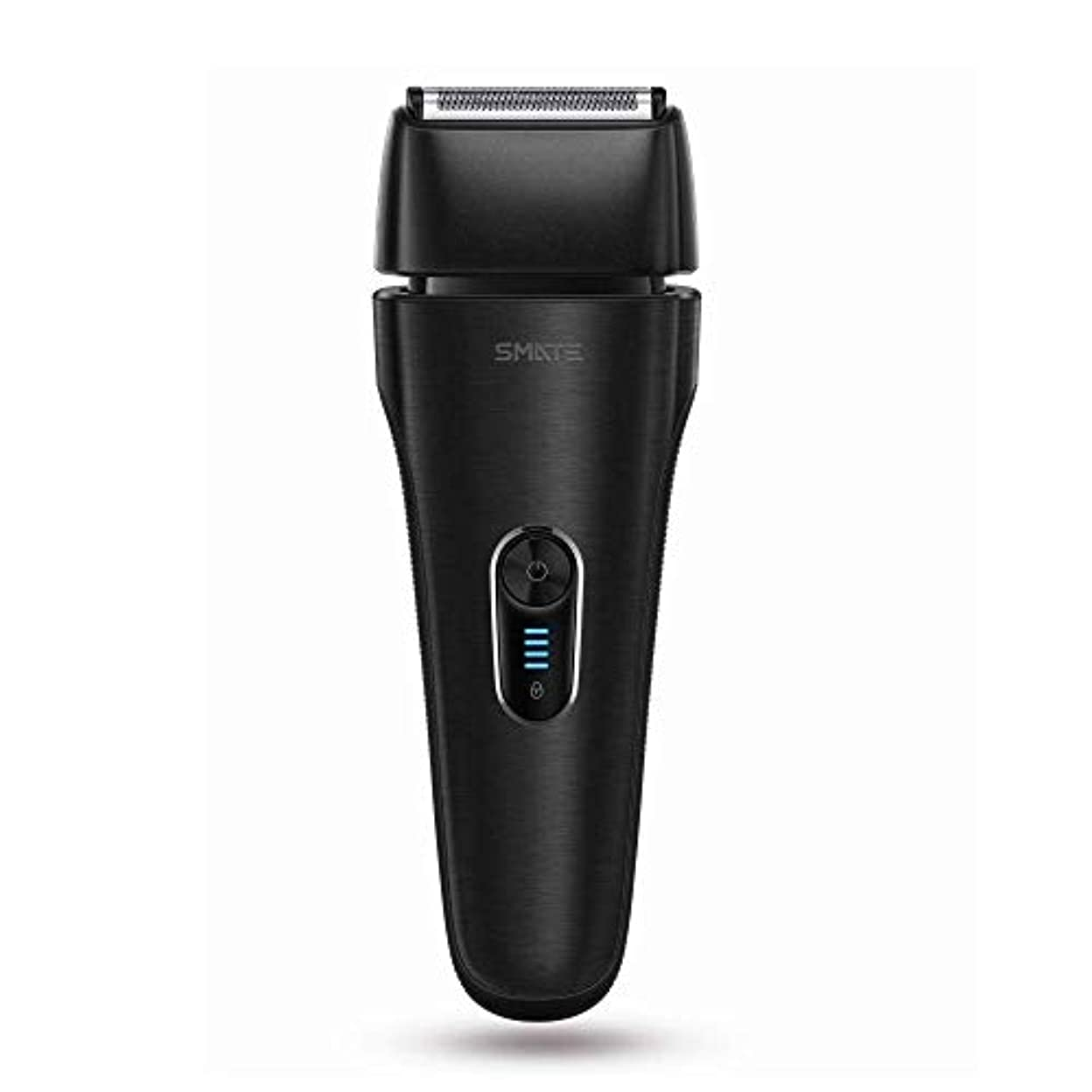 ミルクパンチSMATE ひげそり メンズ電気シェーパー 四枚刃往復式 USB充電式 電動髭剃り 水洗い可 お風呂剃り可 乾湿両用 持ち運び便利-ブラック