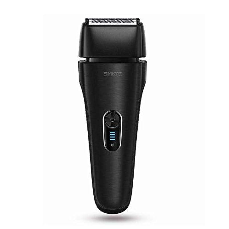 指標聡明無効にするSMATE ひげそり メンズ電気シェーパー 四枚刃往復式 USB充電式 電動髭剃り 水洗い可 お風呂剃り可 乾湿両用 持ち運び便利-ブラック