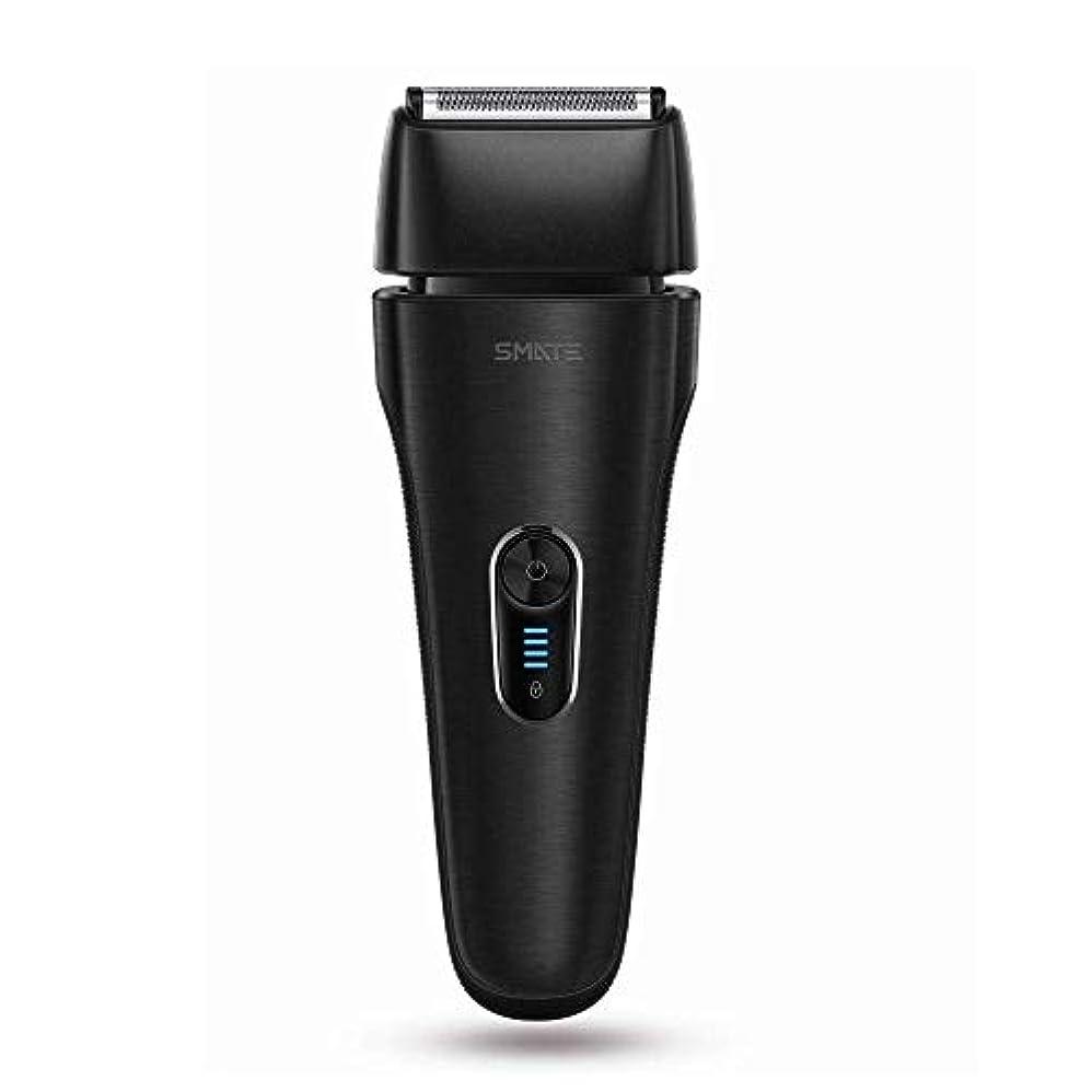 支援する保険をかける初期SMATE ひげそり メンズ電気シェーパー 四枚刃往復式 USB充電式 電動髭剃り 水洗い可 お風呂剃り可 乾湿両用 持ち運び便利-ブラック