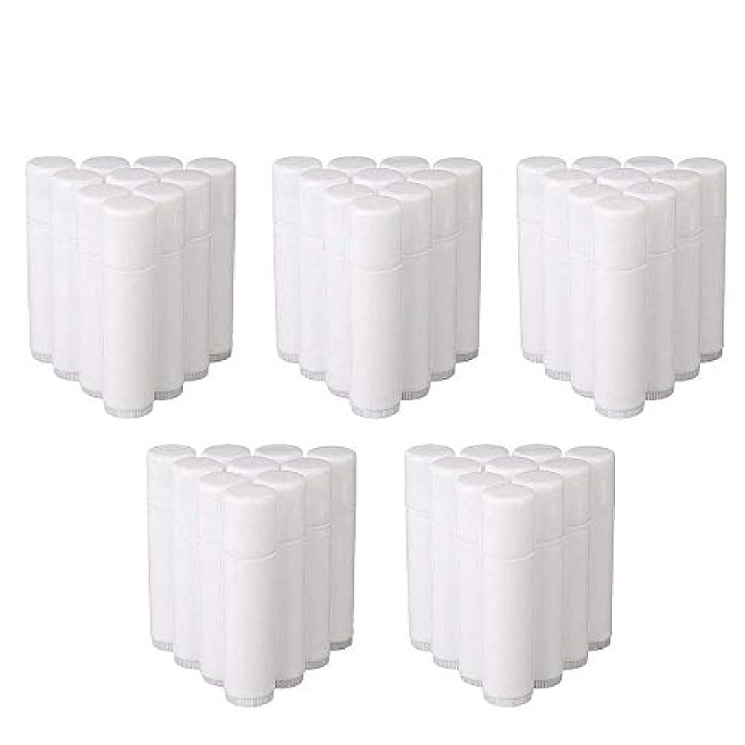 エアコン整理する逃れるCOOLBOTANG リップバームチューブ リップクリーム 繰り出し ホワイト 手作りコスメ 手作り化粧品/リップクリーム 50個 5g ミニ 詰め替え容器