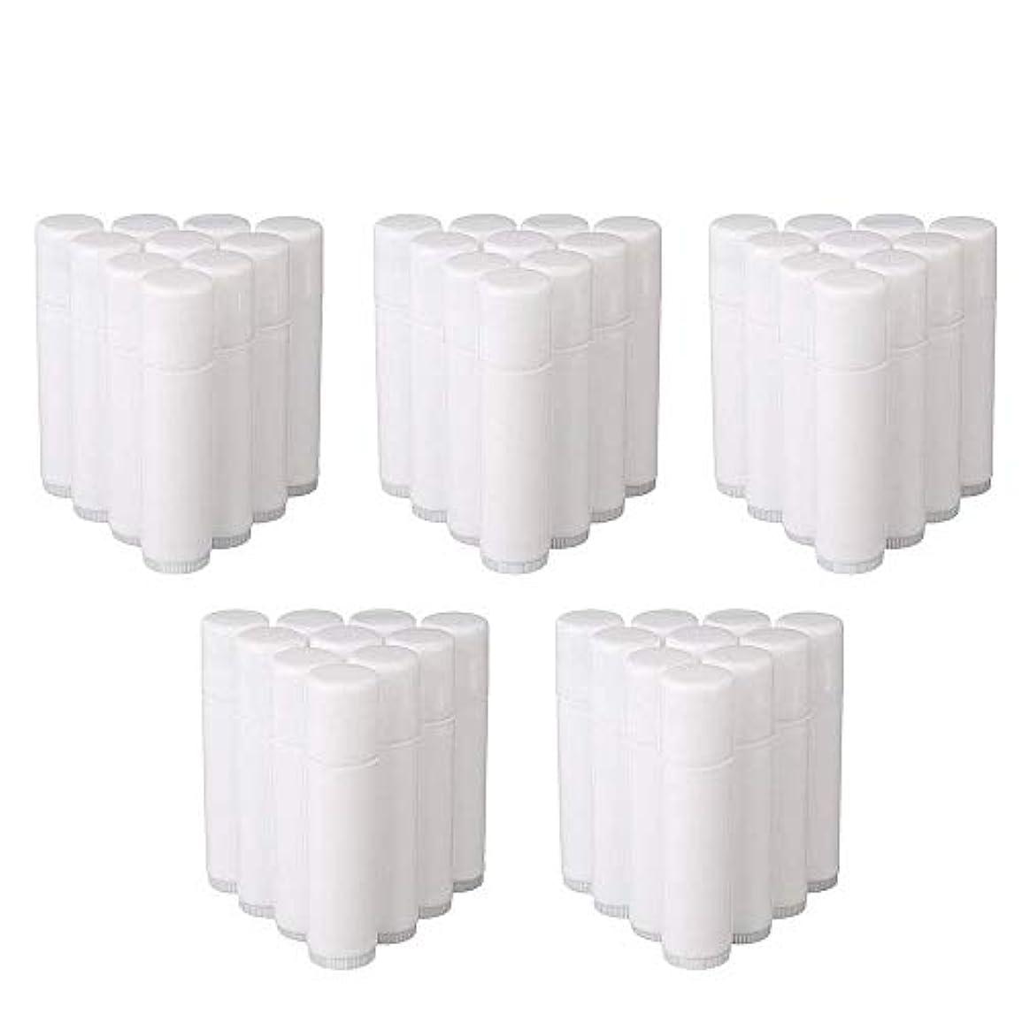 資格情報世代知り合いになるCOOLBOTANG リップバームチューブ リップクリーム 繰り出し ホワイト 手作りコスメ 手作り化粧品/リップクリーム 50個 5g ミニ 詰め替え容器
