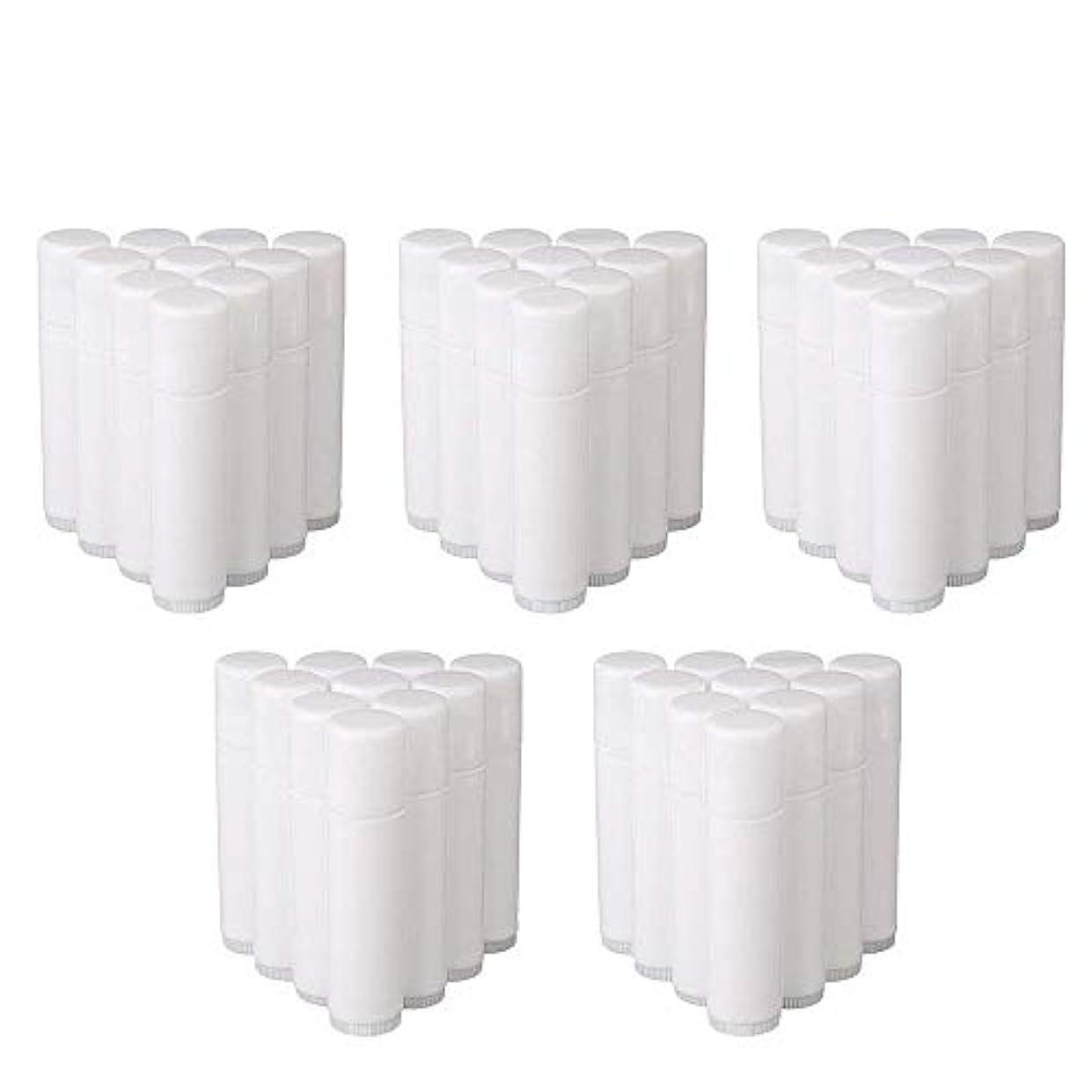ロータリー文庫本派生するCOOLBOTANG リップバームチューブ リップクリーム 繰り出し ホワイト 手作りコスメ 手作り化粧品/リップクリーム 50個 5g ミニ 詰め替え容器