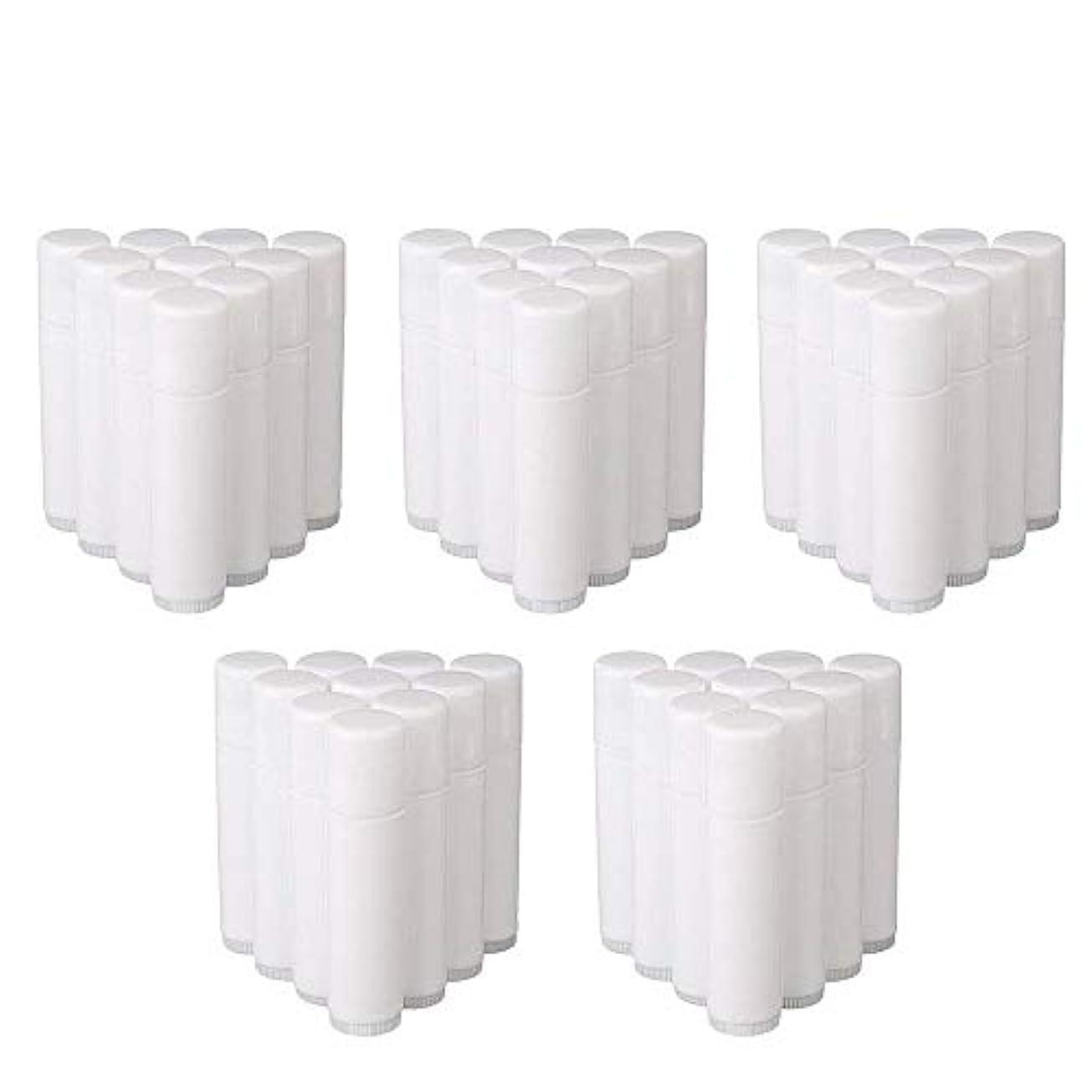 生きている有利前兆COOLBOTANG リップバームチューブ リップクリーム 繰り出し ホワイト 手作りコスメ 手作り化粧品/リップクリーム 50個 5g ミニ 詰め替え容器