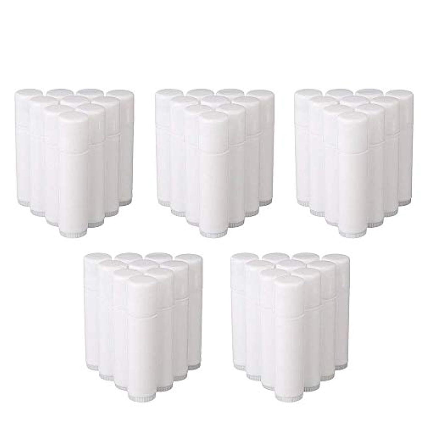 矛盾する援助一時的COOLBOTANG リップバームチューブ リップクリーム 繰り出し ホワイト 手作りコスメ 手作り化粧品/リップクリーム 50個 5g ミニ 詰め替え容器