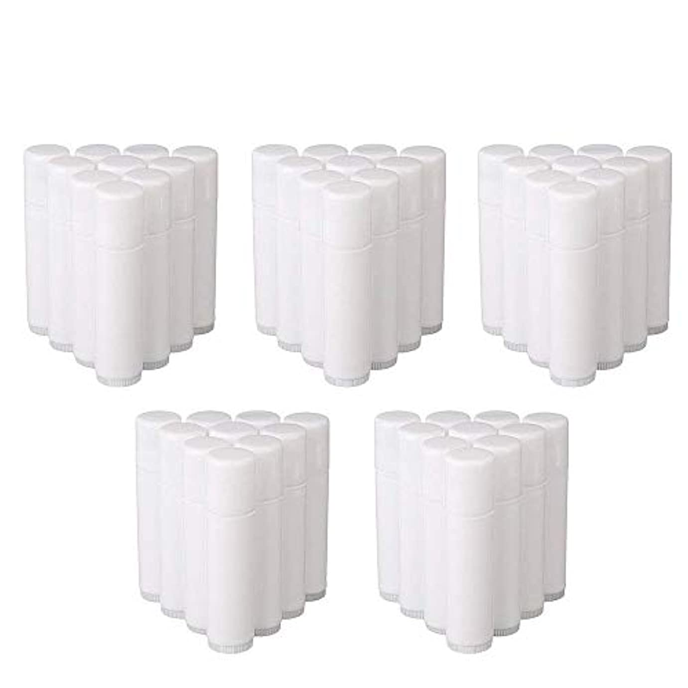 最高拍車許されるCOOLBOTANG リップバームチューブ リップクリーム 繰り出し ホワイト 手作りコスメ 手作り化粧品/リップクリーム 50個 5g ミニ 詰め替え容器